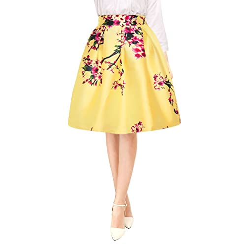 c4f6e356e62 Allegra K Women s Vintage Floral Prints High Waist Pleated A Line Midi Skirt