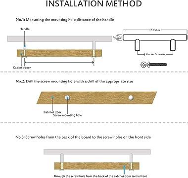 "30 Pack   5'' Cabinet Pulls Matte Black Stainless Steel Kitchen Drawer Pulls Cabinet Handles 5""Length, 3"" Hole Center"