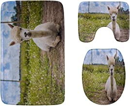 A Cute Smart Pretty Alpaca Bathroom Rug Mats Set 3-Piece,Soft Shower Bath Rugs,Contour Mat and Toilet Seat Lid Cover Non-S...
