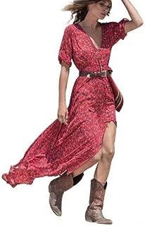 Womens Boho Long Maxi Dress Deep V Neck Floral Slit Casual Beach Party Skirt Zulmaliu