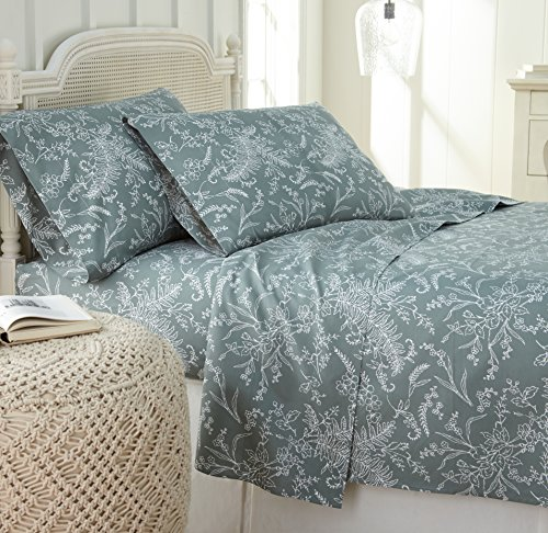 Southshore Fine Linens - Winter Brush Print 4 Piece Sheet Sets, King, Teal Sheets w/White Flowers