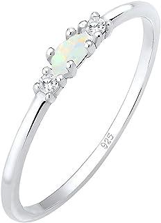Elli Damen Ring Vintage Zirkonia Marquise Opal in 925 Sterling Silber