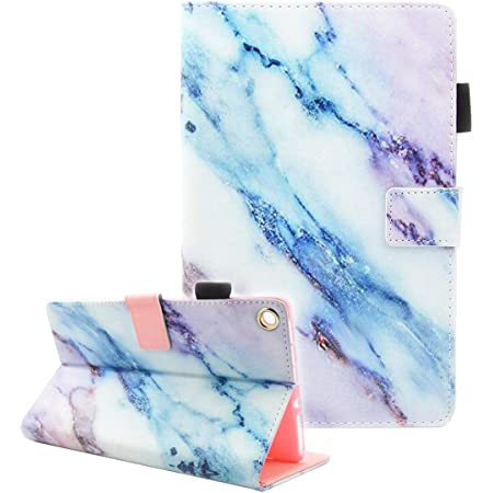 Fire HD 8 Tablet Case, Case for Fire HD 8 Old Model (Fits 2018 2017 2016 Version, 8th/7th/6th Gen), Not Fit All New HD 8 10th Gen 2020 Tablet, Fvimi Leather Folio Smart Cover, Marble