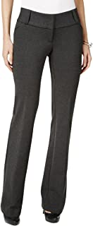 Women's Straight-leg Tummy Control Faux Fur Trim Dress Pants