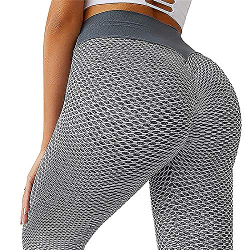 Damen Leggings Butt Lifter Anti-Cellulite Yogahosen Stretch Hohe Taille Sportleggings Blickdicht Push UP Yogaleggings Lift Sporthose Sexy Bauchkontrolle Lange Hosen S-XL (Gray, XL)