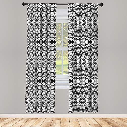 """Ambesonne Black and White Window Curtains, Monochrome Ikat Pattern Bohemian Chevron Modern Scribble Print, Lightweight Decorative Panels Set of 2 with Rod Pocket, 56"""" x 84"""", White Charcoal"""