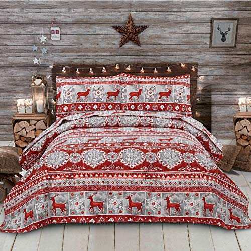 Oliven Red Gray Christmas Reindeer Bedding Bedspread Full/Queen Size Lightweight Thin Portable Quilts Set Moose Snowflake Xmas Coverlet Blanket Bed Cover with 2 Standard Pillowcases