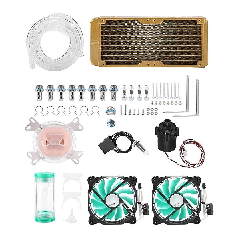 ASHATA Water Cooling Kit, Universal PC Computer CPU Water Cooling Radiator Tubing Liquid Cooler Kit,CPU/GPU Module+Cylindrical Water Tank:+Water Pump+240mm Heatsink
