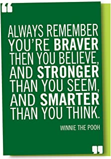 Tree-Free Greetings EcoNotes 12-Count Braver Stronger Smarter Blank Notecard Set With Envelopes, All Occasion, Winnie the Pooh Quote (FS56975)