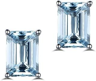 Gemstone 925 Sterling Silver 5x7mm Emerald Cut Earring Studs Blue Topaz 2 Carat Stud Earring