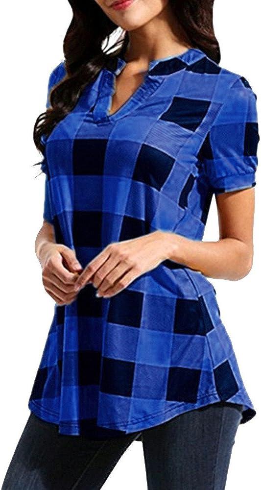 Meikosks Women's Plaid Printed T-Shirt Short Sleeve V-Neck Max 66% OFF Tops Max 88% OFF