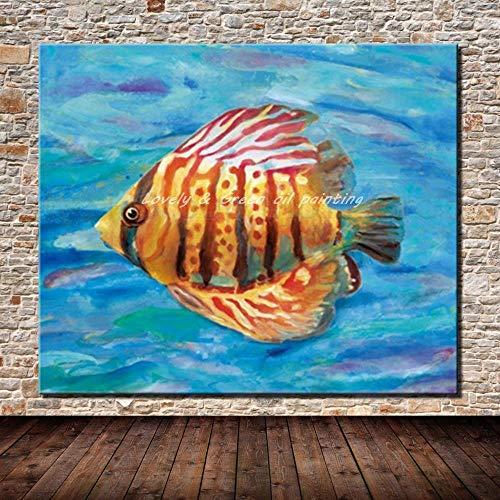 wojinbao DIY Digitale Malerei-Malerei Leinwand-Kits-abstrakte Tierfisch Geschenk-Kits vorgedruckte Leinwand Kunst Home Decoration(Kein Rahmen)