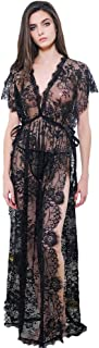 Women's Lace and Chiffon Babydoll Nightwear Side Split Long Gown Lingerie with Thong