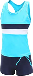 Girls Two Piece Tankini Boyshort Swimsuit Kids Fashion Swimwear Set Summer Beach Bathing Suit
