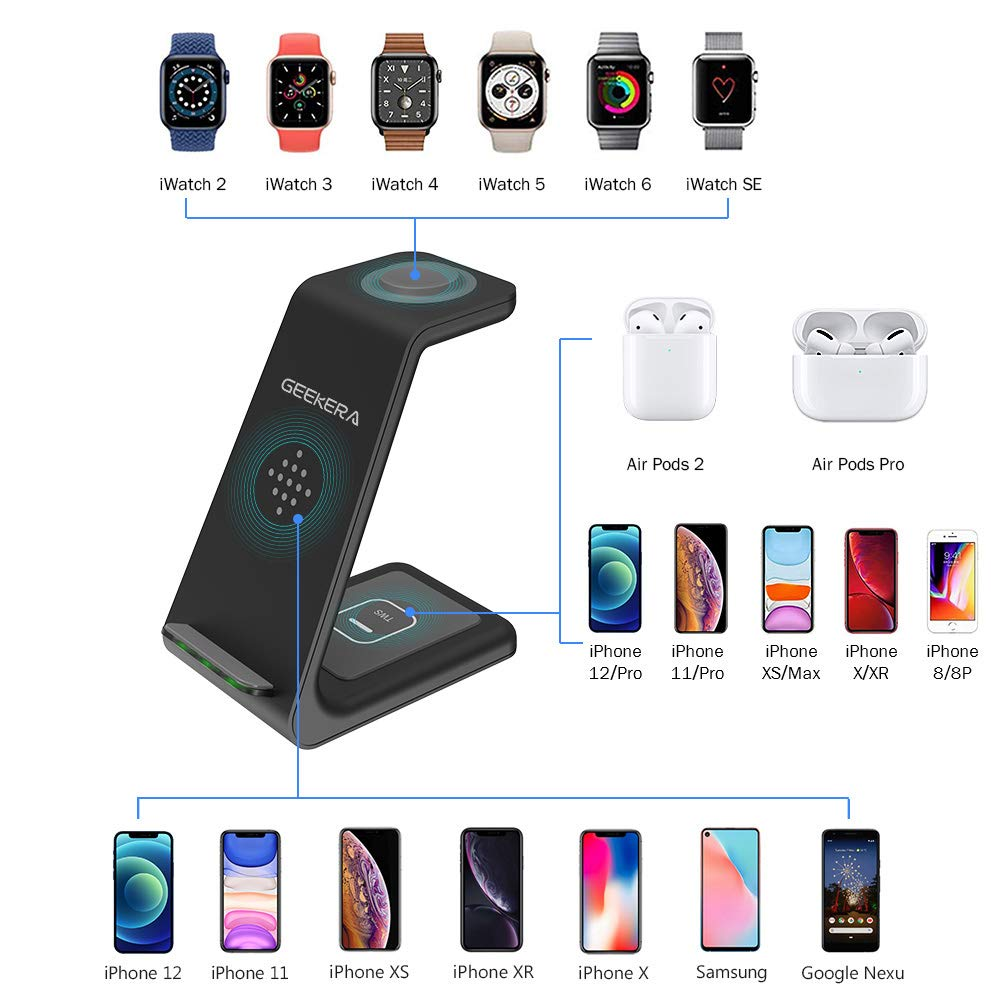 Wireless Charging Stand, GEEKERA 3 in 1 Wireless Charger Dock Station for Apple Watch 6 SE 5 4 3 2, Airpods 2/Pro, iPhone 13Pro Max/13 Pro/13/12/12PRO/11/11 Pro/X/Xr, Qi-Certified Phones