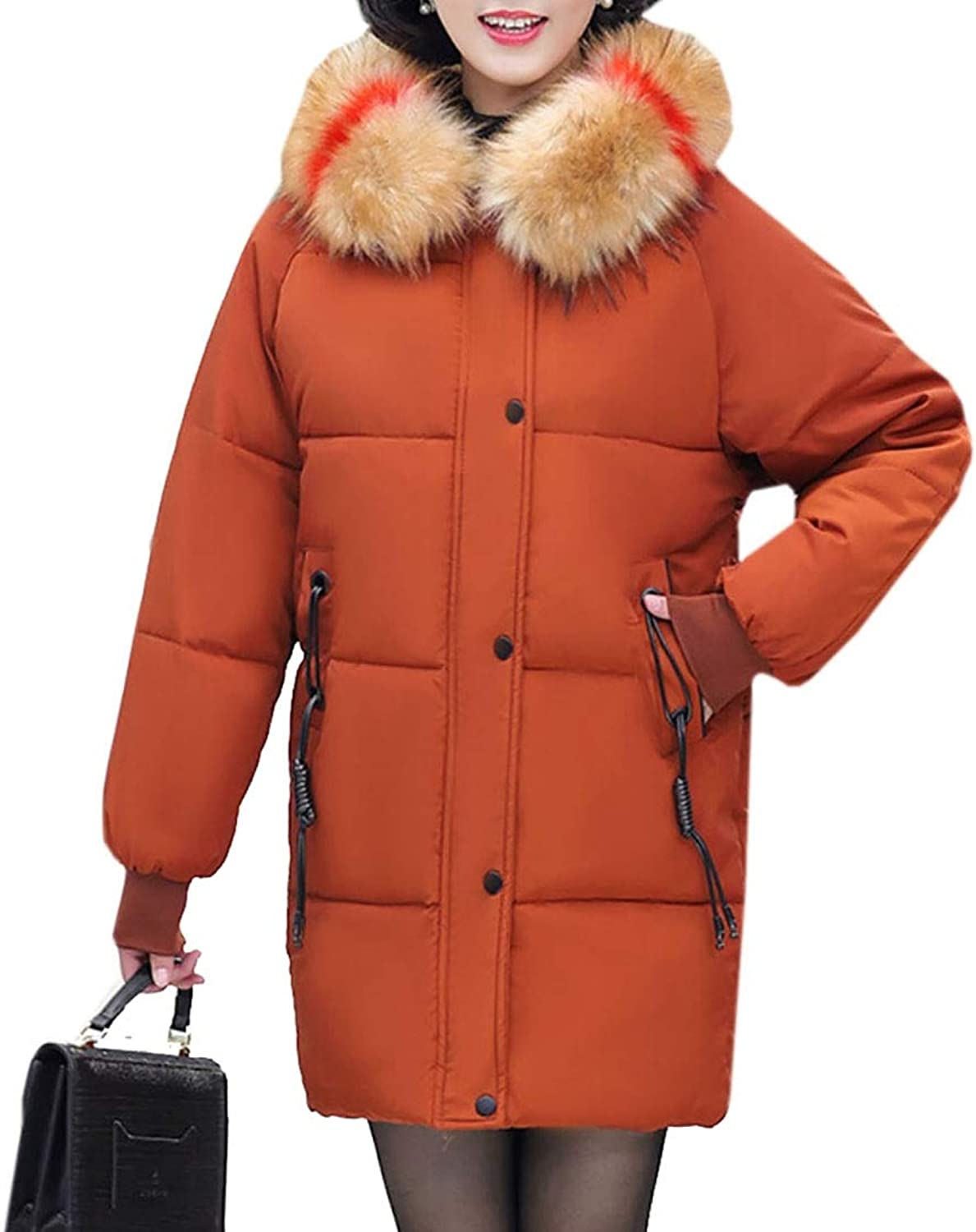 Esast Women's Thickened Winter Hood Long Down Jacket Puffer Parka Down Jacket