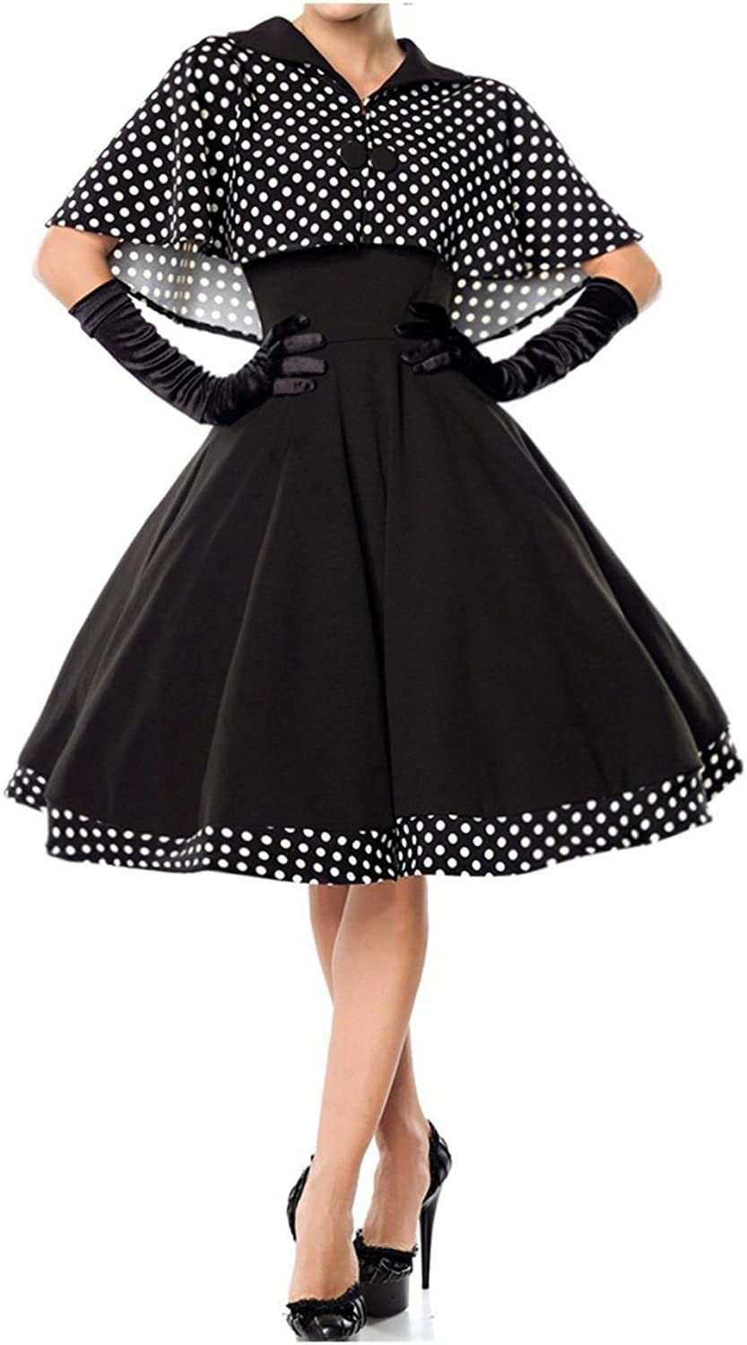 Belsira Ladies Swing Dress with Cape in Retro Style