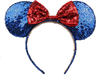 OBUY Minnie Ears, Minnie Mouse Ears,Adult red Ears,mice Ears Minnie Mouse Ears,Rainbow Minnie Mouse Ears, Sparkly Minnie Ears, Mouse Ears (Blue)
