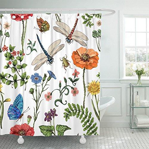 TOMPOP Duschvorhang Sommer Botanische Pflanzen Insekten Blumen in Vintage Schmetterlinge Libellen Wasserdichtes Polyestergewebe 183 x 183 cm Set mit Haken