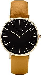La Bohème Gold Black Mustard CL18420 Women's Watch 38mm Leather Strap Minimalistic Design Casual Dress Japanese Quartz Elegant Timepiece