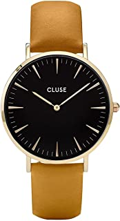 CLUSE La Bohème Gold Black Mustard CL18420 Women's Watch 38mm Leather Strap Minimalistic Design Casual Dress Japanese Quartz Elegant Timepiece