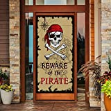 Beware of Pirates Door Banner Pirate Party Decoration Pirate Backdrop Halloween...