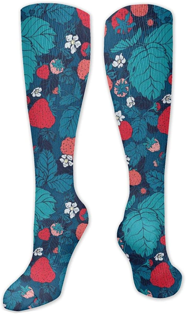 Strawberry Blue Pattern Knee High Socks Leg Warmer Dresses Long Boot Stockings For Womens Cosplay Daily Wear