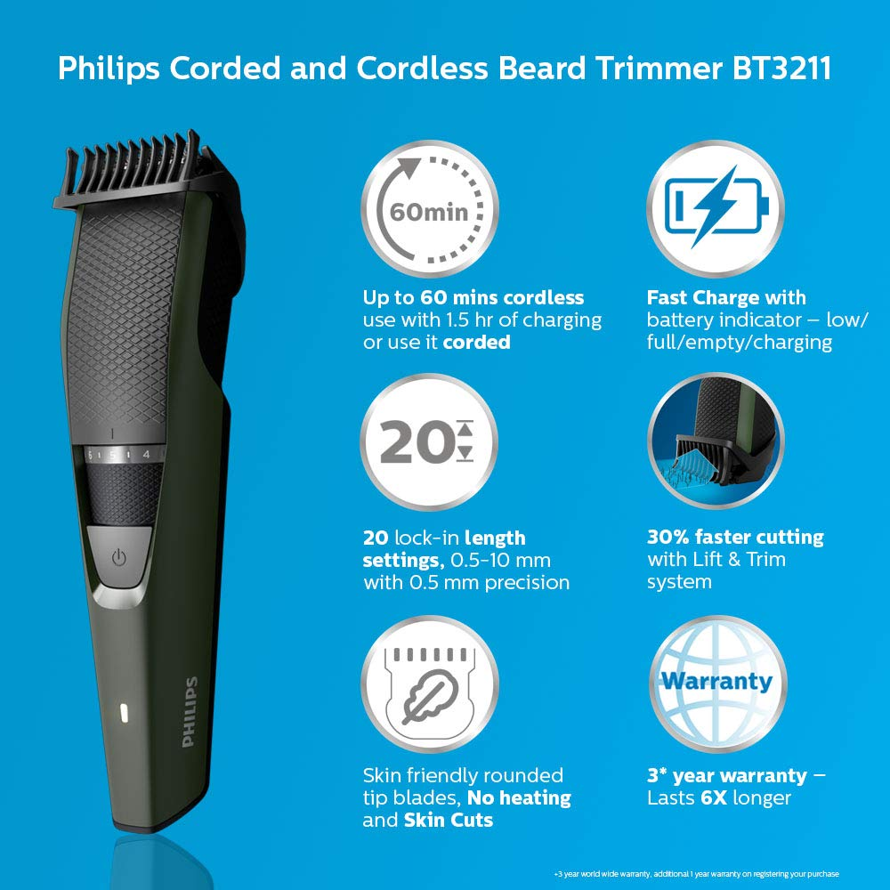 Philips BT3211/15 Corded & Cordless Beard Trimmer