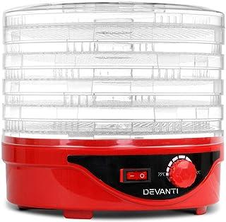 DEVANTI 5 Trays Food Dehydrator Jerky Dryer Fruit Maker Red