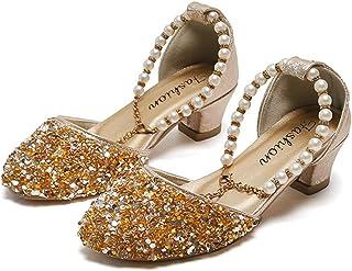 Ragazze Panna Beige Paillettes Perline Formali Eleganti Damigelle Partito Scarpe