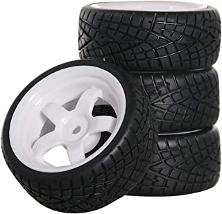 ShareGoo 12mm Hex White 5 Spoke Plastic Wheel Rims and Rubber Tires for HSP HPI RC 1:10 On Road Racing Car (Pack of 4)