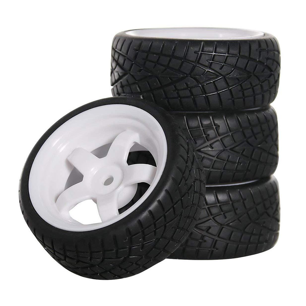 ShareGoo 12mm Hex White 5 Spoke Plastic Wheel Rims and Rubbe