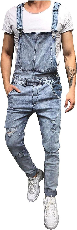 FEDULK Men's Denim Bib Overalls Loose fit Holes Ripped Jumpsuits Distressed Suspender Pants Romper Casual Playsuit