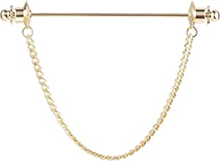 Men Silver Gold Tone Necktie Tie Cravat Pin Clip Business Shirt Collar Bar Pin Brooch with Chain