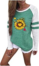 Xinantime Womens Sunflower Print Shirts Casual Patchwork Tops Round Neck Long Sleeve Loose Blouse Loose T-Shirt