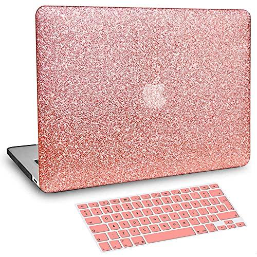 BELK Funda Dura Compatible con MacBook Air 13 Pulgadas 2021 2020 2019 2018 con Retina Display & Touch ID A2337 M1 A2179 A1932, Liso Glitter Bling Plástico Dura Carcasa & Cubierta de Teclado, Oro Rosa