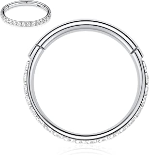 16G CZ Opal Cartilage Earring Hoop 316L Surgical Steel Septum Nose Rings Daith Helix Tragus Piercing Jewelry
