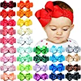 30pcs Baby Girls Headbands 4.5' Hair Bows Soft Stretchy Crochet Hair Band for Baby Girls Newborns Infants Toddlers and Kids