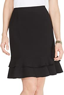 Women's Petite Stretch Crepe Skirt with Bottom Ruffle Detail