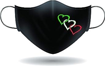 Mascherina per viso con elastici - cuori tricolori
