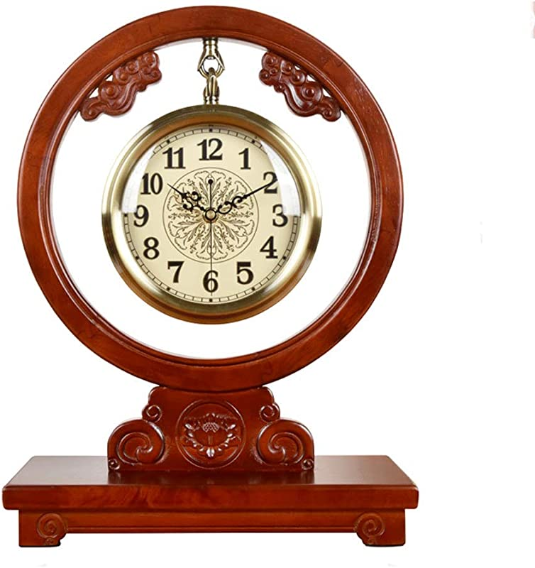 JIAHE115 Solid Wood Clock Pendulum Clock Punctual Study Dining Room Bedroom Living Room Villa Hotel Retro Creative Desk Clock 45 33 15CM