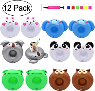 Heart with Wings Woodpecker Parrot Flamingo Soccer Ball Ring Shape 9-Pack Inflatable Drink Holder Drinks Floats for Pool Party Summer Water Floatation Toy Leopard Print Cactus Cherry