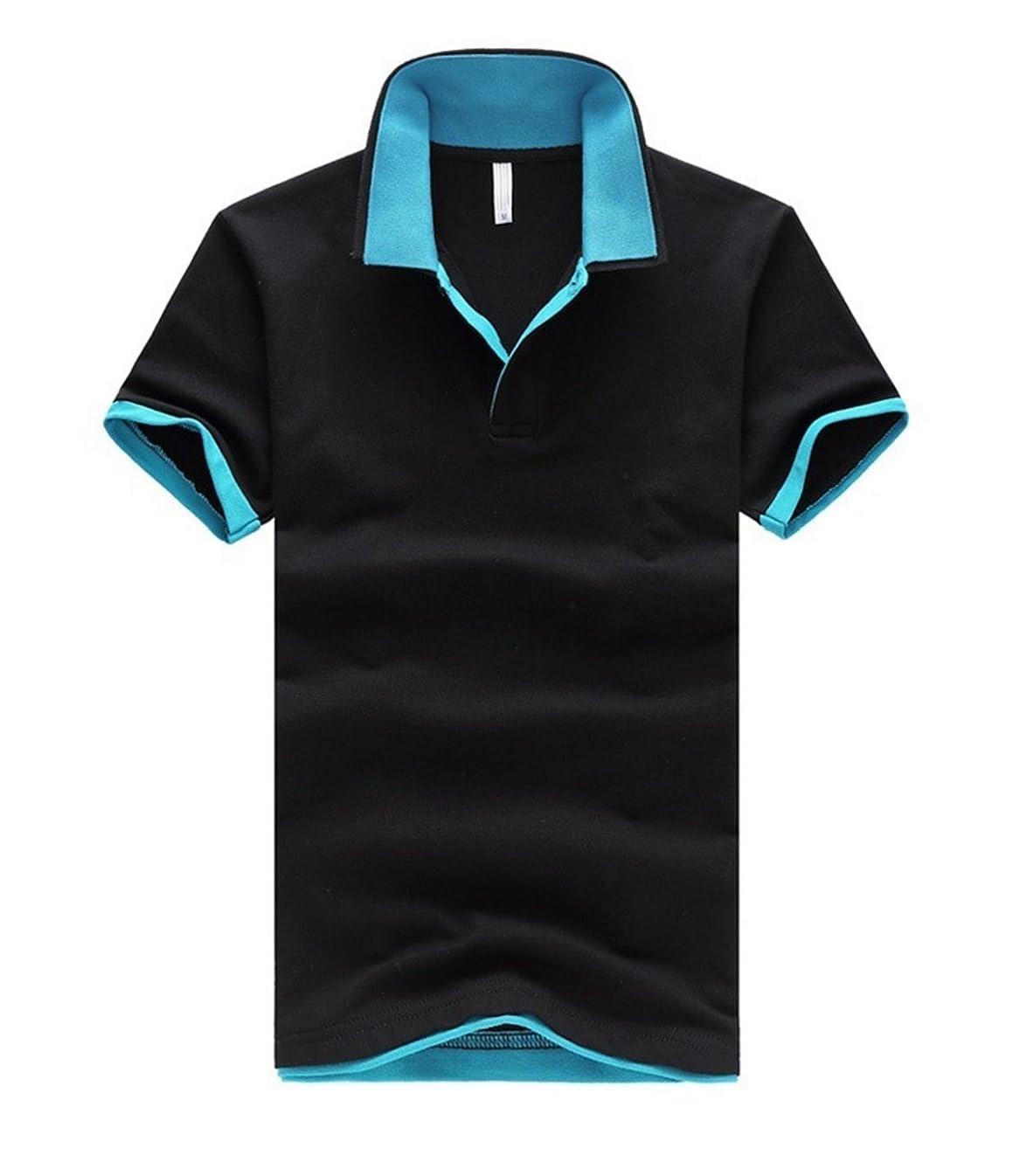 戦士運命的な重要な(Two Steps Behind) メンズ 半袖 無地 ポロシャツ ビックサイズ ゆったり 大きいサイズ RE54