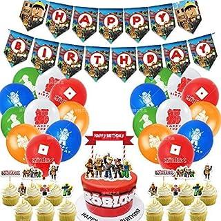 Roblox Cupcake Toppers JPYH 46PCS Cupcake Toppers cumplea/ños Decoracion de Fiesta Roblox Estandarte de cumplea/ños globo