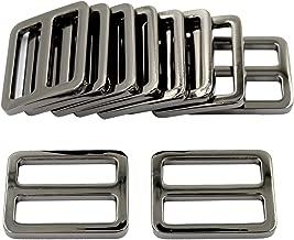 DGOL 10pcs 1 inch Zinc Alloy Slider Tri-Glide Buttons Webbing Strap Tri Glide Adjustable Buckle Fasteners (Gun Metal)