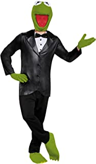 Men's Kermit The Frog Outfit Deluxe Comical Theme Halloween Fancy Costume