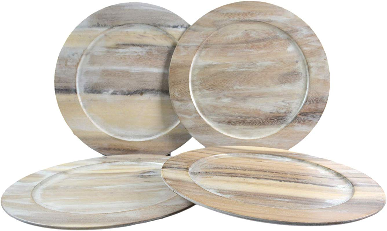 RoRo Classic Wood Charger Set Of 4in Whitewash Stain 14 Inch