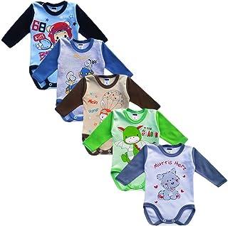 MEA BABY Unisex Baby Langarm Body aus 100% Baumwolle im 5er Pack, Baby Langarm Body mit Aufdruck, Baby Langarm Body für Mädchen, Baby Langarm Body für Jungen