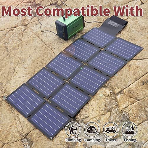 TP-solar 60W Portable Foldable Solar Panel Charger Kit Dual USB 5V + 18V DC Output for Portable Generator Power Station Cell Phone Tablet Laptop 12V RV Boat Car Battery