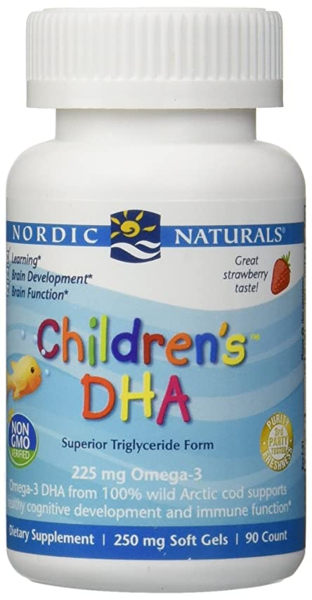 環境保護主義者精神あえて海外直送品Nordic Naturals Children''s DHA Strawberry, Strawberry 90 softgels 250 mg